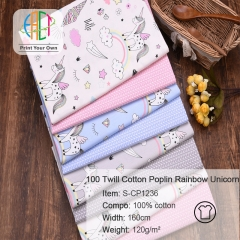 S-CP1236 Twill 100% Cotton Poplin Fabric Printed Rainbow Unicorn,120gsm,160cm,MOQ=50m