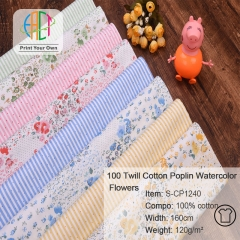 S-CP1240 Twill 100% Cotton Poplin Fabric Printed Flowers,120gsm,160cm,MOQ=50m