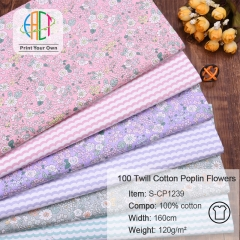 S-CP1239 Twill 100% Cotton Poplin Fabric Printed Flowers,120gsm,160cm,MOQ=50m