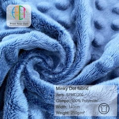 SPMD200,Wholesale 100%Polyester Minky Dot Fabric Solid Color 250gsm, MOQ 50m