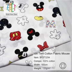 S-CP1254 Twill 100% Cotton Poplin Fabric Printed Mouse,120gsm,160cm,MOQ=50m