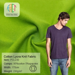 PCL230 Wholesale 95/5 Cotton Lycra Knit Plain Fabric 230gsm MOQ 25KG as a roll